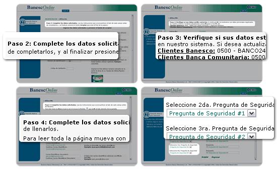 Datos para afiliarte a la banca en línea