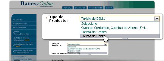 Debes elegir el tipo de producto relacionado con tu reporte